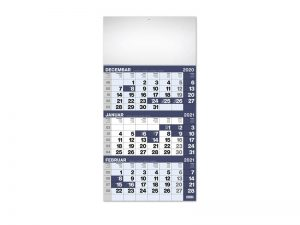 Zidni kalendar, 3 x 12 listova, tromesečni, trodelni